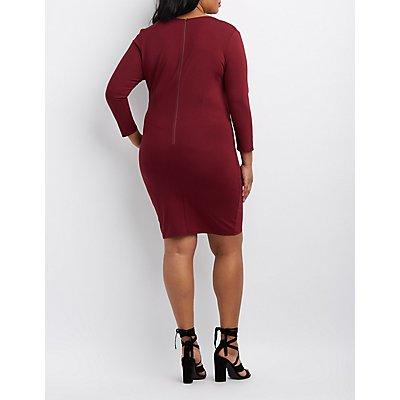 Plus Size Surplice Bodycon Dress