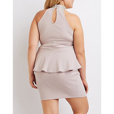 Plus Size Embellished Mock Neck Peplum Dress