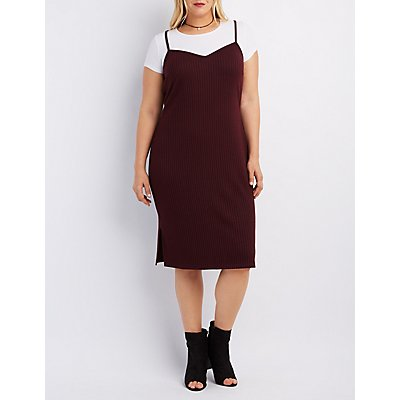 Plus Size Ribbed Layered Dress