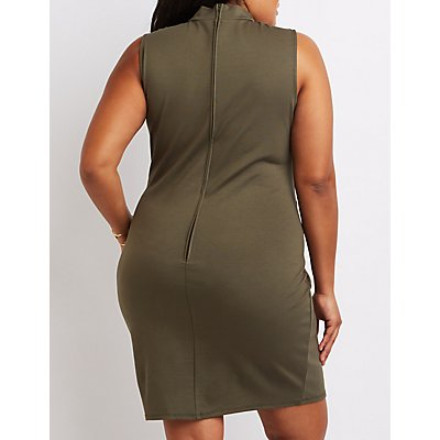 Plus Size Mock Neck Lattice Bodycon Dress