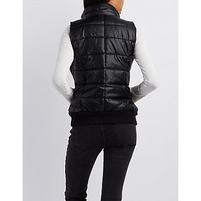 Faux-Fur Trim Hooded Puffer Vest