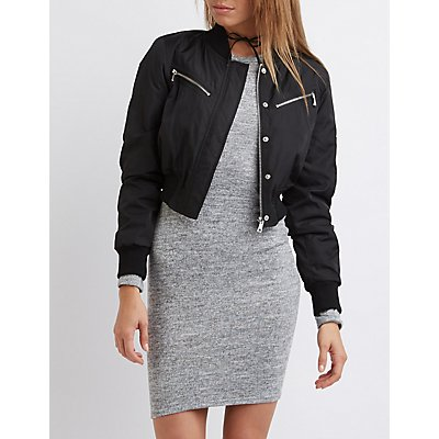 Zipper-Pocket Cropped Bomber Jacket