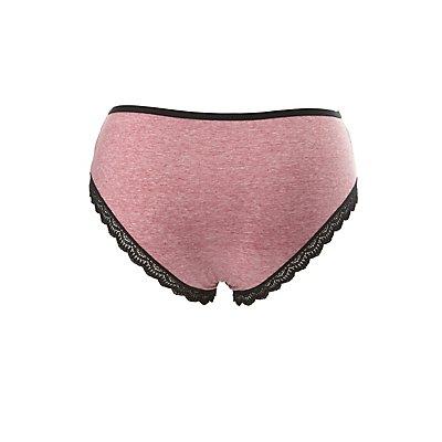 Plus Size Lace-Trim Cotton Cheeky Panties