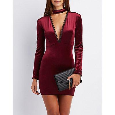 Velvet Crochet-Trim Mock Neck Dress