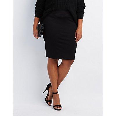 Plus Size Ponte Knit Pencil Skirt