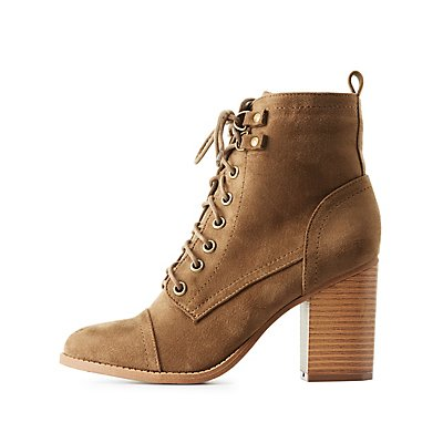 Lace-Up Cap Toe Combat Booties