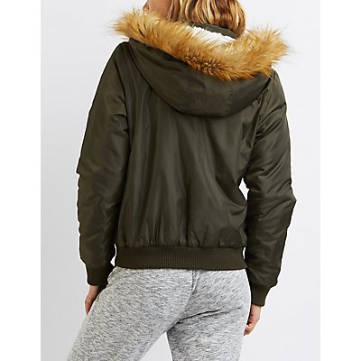 Faux Fur-Trim Hooded Bomber Jacket