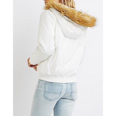 Faux Fur-Trim Hooded Bomber Jacket