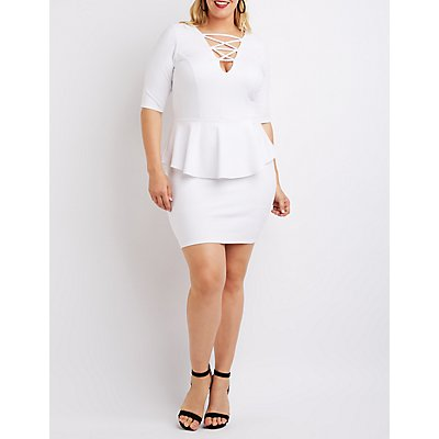 Plus Size Lattice Peplum Dress