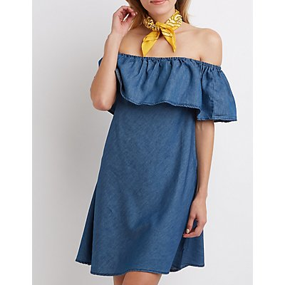 Chambray Off-The-Shoulder Swing Dress
