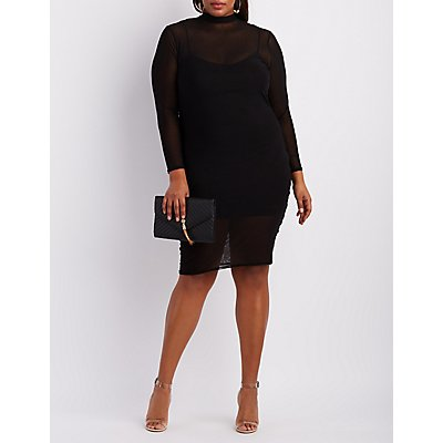 Plus Size Mesh Mock Neck Bodycon Dress