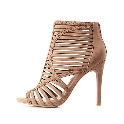 Caged Peep Toe Dress Sandals