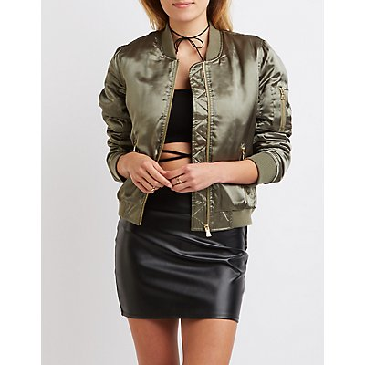 Satin Padded Bomber Jacket