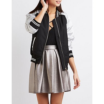 Varsity Stripe Colorblock Bomber Jacket
