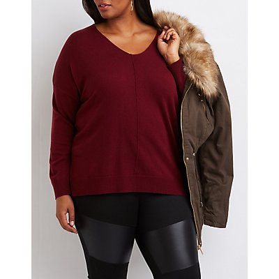 Plus Size Drop Shoulder Sweater