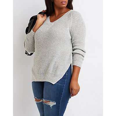 Plus Size V-Neck High-Low Sweater