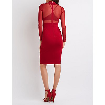 Mesh Bodice Bodycon Dress