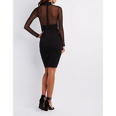 Mesh Bodice Bodycon Dress