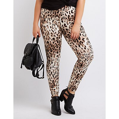 Plus Size Leopard Stretch Cotton Leggings