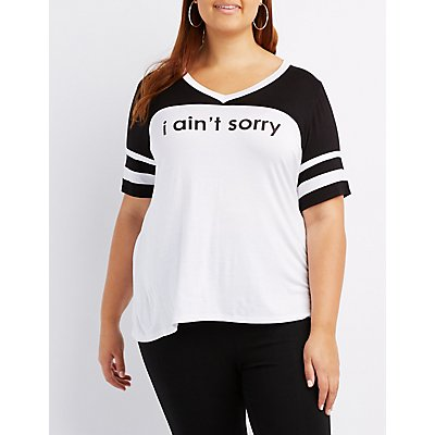 Plus Size I Ain't Sorry Football Tee