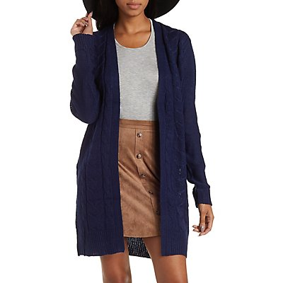 Cable Knit Duster Cardigan Sweater
