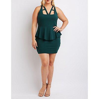 Plus Size Caged Cut-Out Peplum Dress
