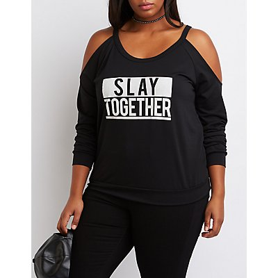Plus Size Slay Together Cold Shoulder Sweatshirt