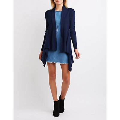 Open Knit Draped Cardigan