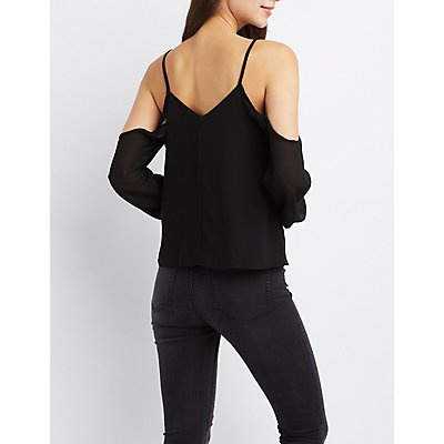 Caged Cold Shoulder Top