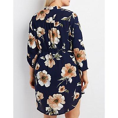 Plus Size Floral Zip-Pocket Shirt Dress