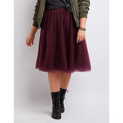 Plus Size Tulle Full Midi Skirt