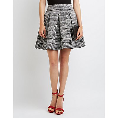 Metallic Bandage Skater Skirt