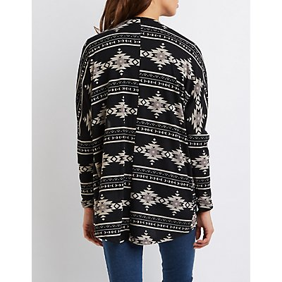 Tribal Print Open Cardigan