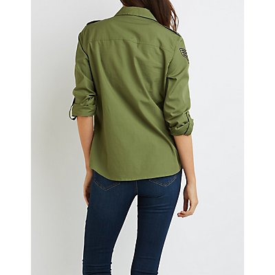 Patched Button-Up Shirt