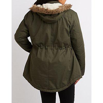 Plus Size Faux Fur-Trim Anorak Jacket