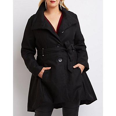 Plus Size Wool Blend Swing Coat