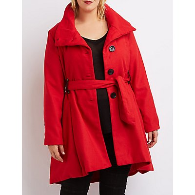 Plus Size Wool Blend Swing Coat