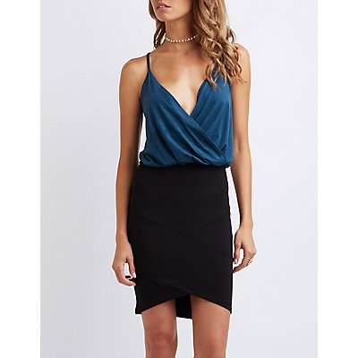 Faux Suede Surplice Tank Top
