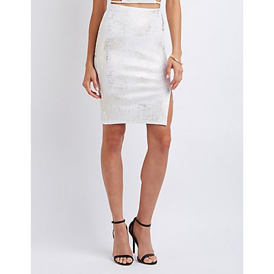 Foil Knit Pencil Skirt
