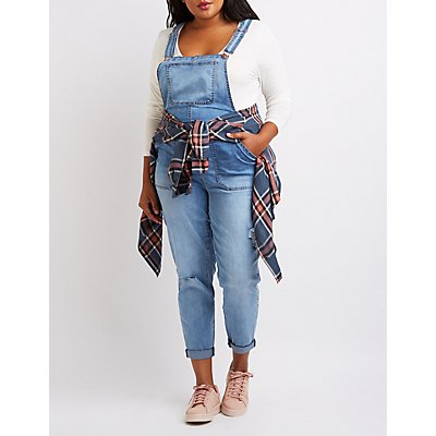 Plus Size Refuge Distressed Denim Overalls | Charlotte Russe