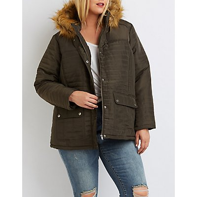Plus Size Faux Fur-Trim Hooded Puffer Jacket