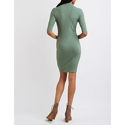 Ribbed Cut-Out Mock Neck Dress