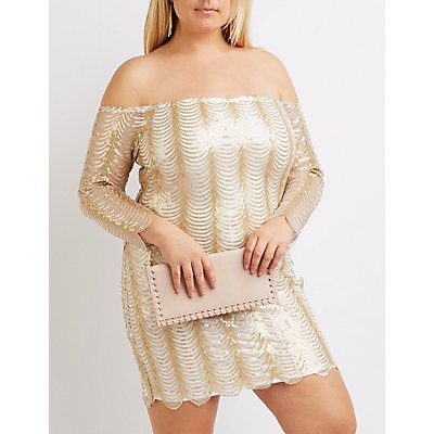 Plus Size Sequin Off-The-Shoulder Dress