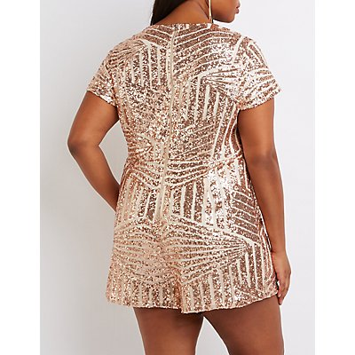 Plus Size Sequin V-Neck Romper