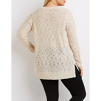 Plus Size Slub Knit Scoop Neck Sweater