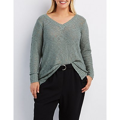 Plus Size Slub Knit V-Neck Sweater
