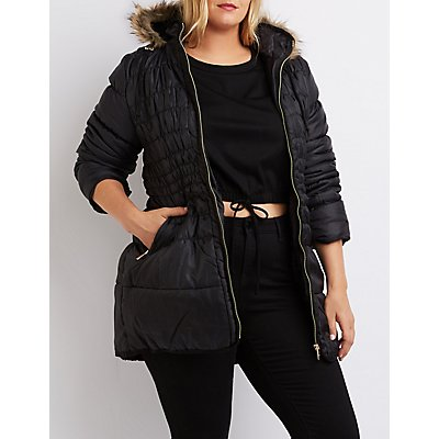 Plus Size Faux Fur-Trim Puffer Jacket