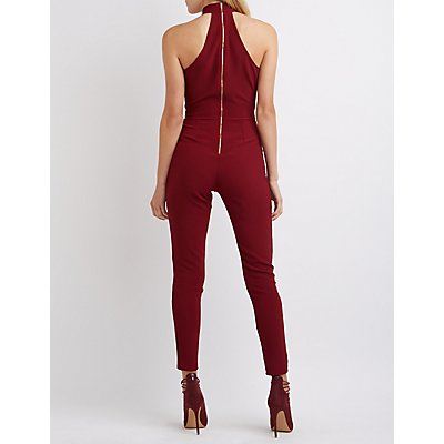Mock Neck Plunging Cut-Out Jumpsuit