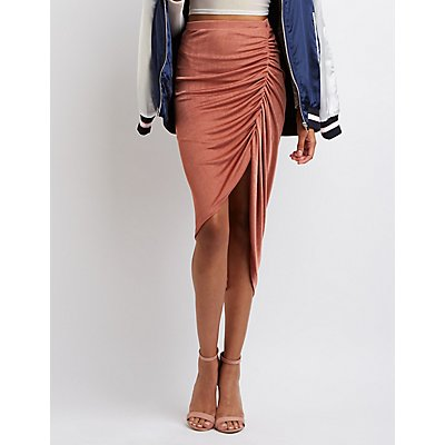 Ruched Asymmetrical Skirt