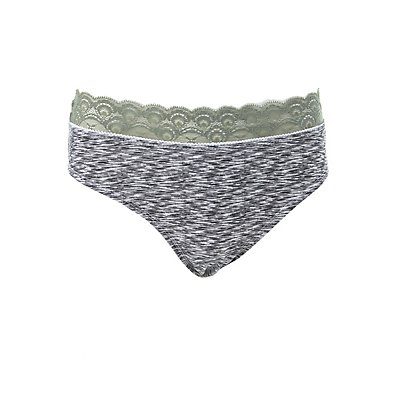 Plus Size Space Dye Lace-Trim Hipster Panties